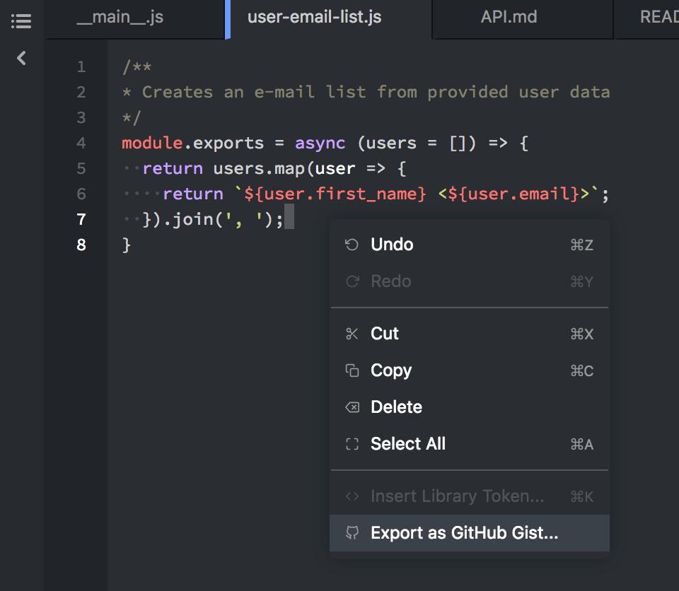 Export as GitHub Gist